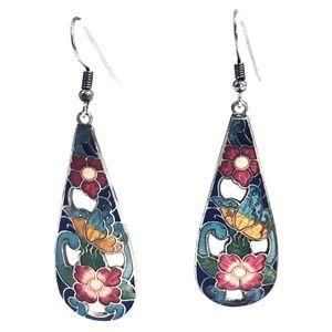 Vintage Cloisonné Long Dangle Hook Earrings
